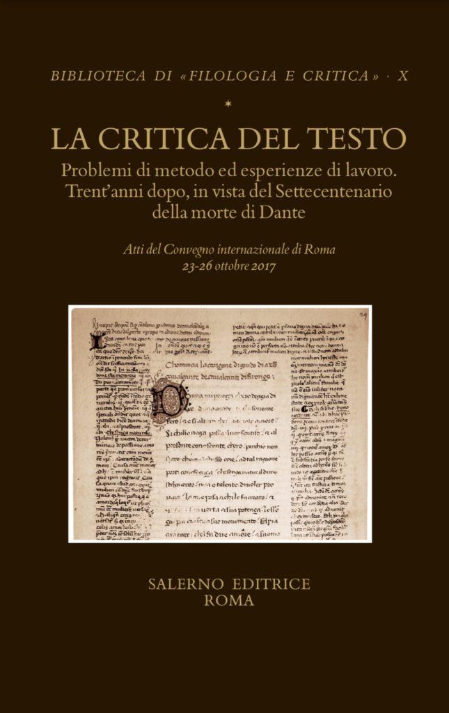 Biblioteca Di Filologia E Critica Salerno Editrice